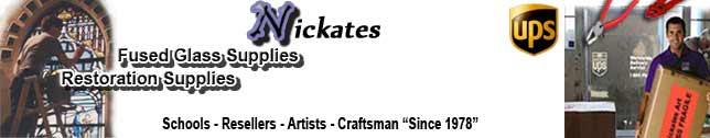 Stained glass supplies for sale at Nickates Stained Glass Supplies