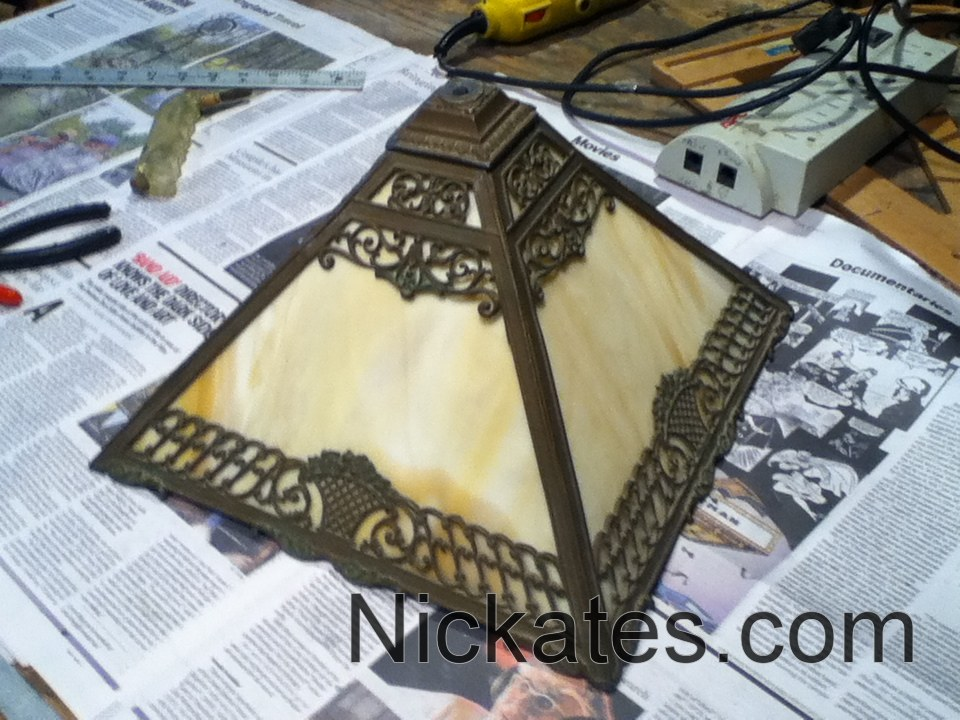 I cut antique lamp glass for tiffany panels